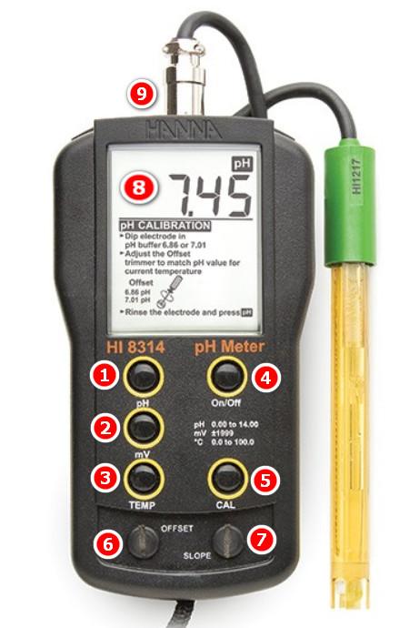 Các nút tính năng máy đo pH hanna