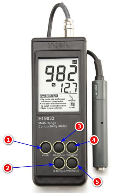Cấu tạo máy đo độ dẫn điện Hanna